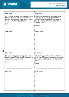 Giving Advice ESL Activities Games Worksheets English Speaking Game, Learning English, English Class, English Vocabulary, Help Teaching, Teaching Tools, Student Learning, Teaching Resources, Moral Dilemma