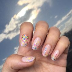 multicolored glitter manicure