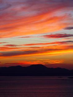 Red sundown. Seen in Myndos near Bodrum, Turkey. Our view in the direction of Kalymnos in greece. #red #sundown #myndos #bodrum #turkey #kalymnos #greece