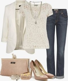 White blazer, lace blouse, jeans, handbag and high heels for fall