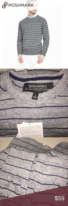LAST CHANCE Grey linen blend sweater striped. Retail $98 Banana Republic Sweaters Crewneck