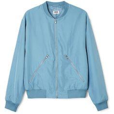 Monoc Bomb Jacket ❤ liked on Polyvore featuring outerwear, jackets, blue jackets, raglan jacket, zipper jacket, zip jacket and blue zipper jacket