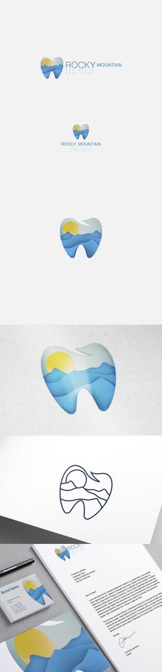 Dental logo and brand identity created by The Nomad for Rocky Mountain Dentistry. A skueomorphic nature scene is pictured in the silhouette of a tooth. #logo #branding #design