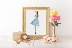 Printable art, printable illustration, instant download, download art   https://www.etsy.com/es/listing/476862041/el-vestido-azul-ilustracion-imprimible