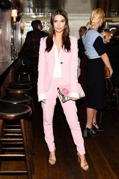 403819ef486b2 Emily Ratajkowski looks fabulous at Diane von Furstenberg s Fall 2017  Dinner Fashion Week Pink Trousers