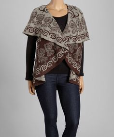 Look at this La Cera Brown & Taupe Abstract Open Vest - Women & Plus on #zulily today!