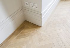 Victorian Townhouse Highgate - Skirting And Parquet Detail - LLI Design Tiled Hallway, Hallway Flooring, Living Room Flooring, Bedroom Flooring, Herringbone Laminate Flooring, Herringbone Wood Floor, Wood Tile Floors, Parquet Flooring, Plywood Floors