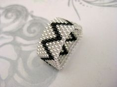 Peyote Ring  ZigZag in Silver and Black  size 7 by MadeByKatarina, $14.00