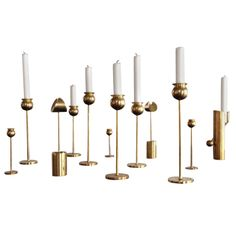 Pierre Forsell Brass Candlesticks For Skultuna Sweden | From a unique collection of antique and modern candleholders and candelabra at http://www.1stdibs.com/furniture/lighting/candleholders-candelabra/