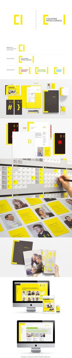 Corporate Design für Cologne Intelligence Love the use of yellow! It's my favourite colour in the world, and not many people dare to use it. Design Corporativo, Logo Design, Design Poster, Graphic Design Branding, Symbol Design, Corporate Identity Design, Brand Identity Design, Editorial Design, Web Design Mobile