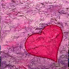 Mixed Media with Acrylic Paint and Oil Pastel by Lisa Fontaine.  Heart.