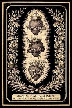 Los tres Corazones: el Sacratísimo Corazón de Jesús. El Inmaculado Corazón de María. El Amantisimo Corazón de Nuestro Padre San José. Antiguo grabado alemán.