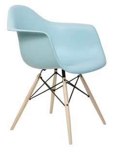herman miller eames molded plastic arm chair in aqua sky with dowel leg base