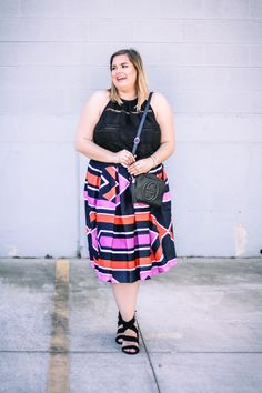 Happy Friday ladies. I am loving this fun full skirt. Nothing makes me feel more ladylike then a full skirt/dress something abut it just makes me feel so proper haha. The skirt has a little elastic in the back which makes it so comfortable. I would say it runs true to size, I am wearing a 18.
