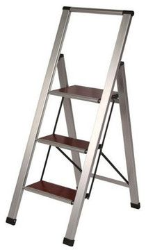 Wood & Aluminum Step Stool Ladder - 3 Steps modern-ladders-and-step-stools