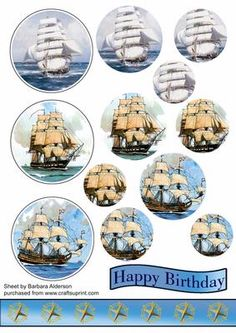 Ahoy There on Craftsuprint designed by Barbara Alderson - Three Sailings ships - use them singly or together on a card. Pyramid sheet with complimentary border - Now available for download!
