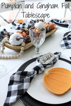 Pumpkin & Gingham Fall Tablescape Pumpkin and Gingham Fall Tablescape More from my site Simple and Easy Fall Tablescape Rustic Garden Fall Dining Room Table Orange & Gray Fall Tablescape Handmade Home Decor, Handmade Decorations, Unique Home Decor, Cheap Home Decor, Thanksgiving Tablescapes, Thanksgiving Decorations, Fall Decorations, Holiday Tables, Fall Home Decor