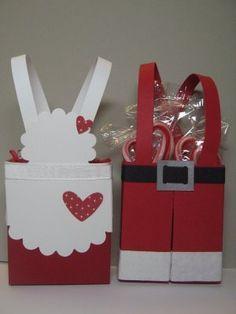 Punch Fun on Boxes #christmas Santa & Mrs Claus gift box #stampinup