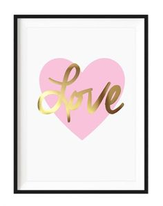 Simply Child Gold Foil Nursery Print - Love