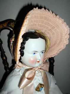 "30 "" HUGE ANTIQUE KISTER  CHINA HEAD DOLL A/O CLOTHES/ BODY W/ FOLK ART HANDS"