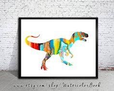 Tyrannosaurus Rex T-rex 2 dinosaure Print aquarelle, aquarelle, aquarelle art, décoration, aquarelle animaux, enfants Wall Art