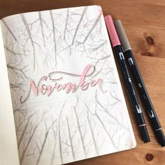 Bullet journal monthly cover page, November cover page, tree drawings, forest bullet journal theme. @sarahphin_artandletters
