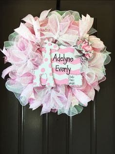Deluxe Personalized Pink Burlap Baby Wreath by WreathsandBowsOhMy