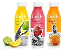 The black and white photos really stand out against the brightly colored backgrounds. The photos depict fun and youthful energy and are charming in how they show the people interacting with the fruits. Fruit Packaging, Food Packaging Design, Beverage Packaging, Bottle Packaging, Packaging Design Inspiration, Brand Packaging, Yogurt Packaging, Product Packaging, Organic Energy Drinks