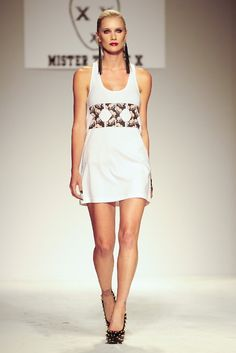 Mister Triple X Dress with JAKIMAC Leather Fringe Earrings and #AlejandraG Shoes on the runway at Style Fashion Week in Los Angeles - Spring 2014 #mistertriplex #jakimac #runway #lafw #fashionweek #la #stylefw #stylefashionweek #spring2013 #leather #accessories #womenswear #style