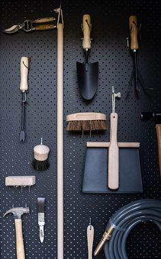 Garden Tool Shed, Garden Tool Storage, Garden Sheds, Black Pegboard, Black Shed, Backyard Sheds, Backyard Greenhouse, Timber Battens, Narrow Shelves