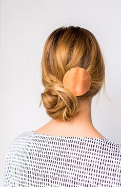 DIY Double Take: Messy Side Swept Chignon Hair Tutorial DIY Copper Statement Hair Accessory