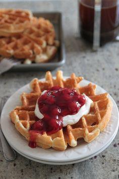 Cherry Cheesecake Sour Cream Waffles