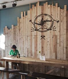 wood panel wall - this would be cool in a cafe or a restaurant