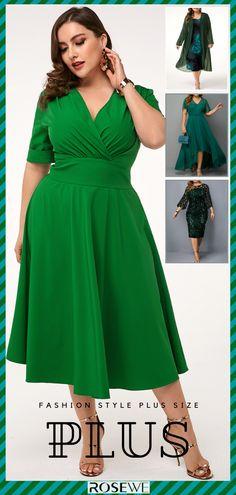 Summer plus size casual green dress for women Plus Size Looks, Plus Size Summer, Plus Size Casual, Online Shopping For Women, Fashion Tips For Women, Plus Size Dresses, Women's Fashion Dresses, Green Dress, Dresses Online
