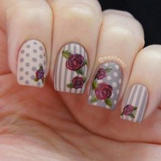Check out this collection of 15 vintage floral nail art designs & ideas of Rose Nails, Flower Nails, Purple Nails, Shabby Chic Nails, Vintage Nail Art, Vintage Floral, Floral Nail Art, Manicure Y Pedicure, Get Nails