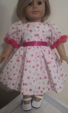 Valentine dress, hearts ,lace and ribbon for american girl 18 inch doll by Lindassewncreations on Etsy