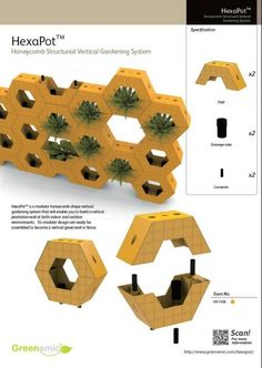 Hydroponic Gardening Ideas HexaPot -- not only a vertical living wall, but also a hydroponics system and green fence too! Hydroponics System, Hydroponic Gardening, Aquaponics Diy, Green Facade, Honeycomb Shape, Green Fence, Vertical Farming, Vertical Gardens, Garden Fencing