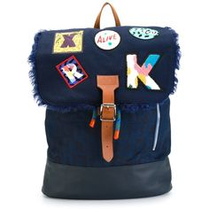 Blue wool-cotton blend and leather letter patches backpack from Kit Neale. ec0a6bbdef9