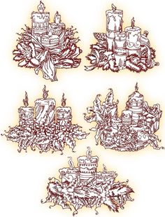 Advanced Embroidery Designs - Christmas Candle Decorations Redwork Set I