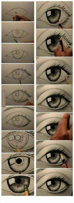 Zou het op deze manier wel lukken een goed oog te tekenen?