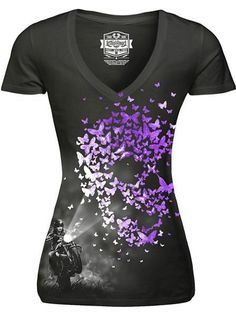 "Women's ""Butterfly Light"" V Neck Tee by Lethal Angel (Black)"