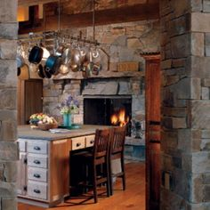 Beautiful kitchen fireplace Home Decor Kitchen, Rustic Kitchen, Home Kitchens, Dream House Exterior, Dream House Plans, Bedroom Wall Colors, Home Decor Bedroom, Home Decor Ideas Apartment Couples, Picture Shelves