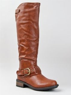 Qupid RELAX-39 Basic Casual Knee High Stacked Heel Buckle Riding Boot ZOOSHOO - Rich colored leather is unexpected and looks fresh on a tough work boot