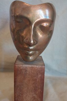 "Vintage 1960 Sculptura inc brass face/mask  sculpture on walnut base 7"" tall by HawaiiSpiritDesigns on Etsy"