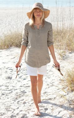 linen pullover and walking shorts