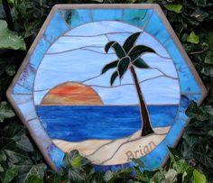 Beach scene mosaic stepping stone by SunnyDayStudio on Etsy, $150.00