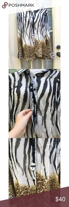 ✨ 100% Silk light-weight cheetah zebra print top - 100% Silk light-weight cheetah zebra print blouse  - Gorgeous long sleeve button up blouse with both zebra and cheetah print throughout - Buttons up the front with a flap to cover buttons, extra button still attached to tag - Sleeves button up as well - Wear open or closed  - Material: 100% Silk - Brand: Kay Celine/ Nordstrom - Size: M  *20% off 2+ * Make me an offer!! Nordstrom Tops Blouses