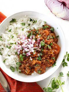 Slow Cooker Coconut Curry Lentils are a hands-off, fiber filled, freezer friendly vegan dinner. http://Budgetbytes.com
