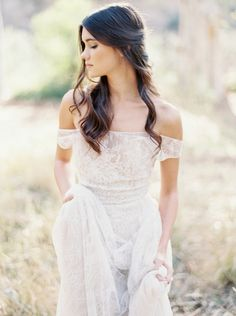 Love this Paolo Sebastian dress - image by Brushfire Photography. Off the shoulder wedding dress ideas and inspiration. Cute Wedding Ideas, Chic Wedding, Wedding Styles, Wedding Inspiration, Dream Wedding, Hair Inspiration, Spring 2017 Wedding Dresses, Wedding Gowns, Wedding Hair