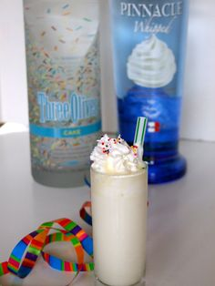 Pinnacle Birthday Shots!! I'M GONNA MAKE THESE 4 SOMEONE'S BDAY!! ;) #PARTY    1 ounce cake flavoured vodka (e.g. Pinnacle or Three Olives)    1 teaspoon dry white cake mix    1/2 ounce whipped cream flavoured vodka (e.g. Pinnacle) or chocolate liqueur    1/2 ounce half & half (10.5-18% fat cream)    whipped cream (for topping)    sprinkles (for topping)